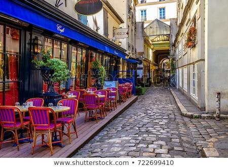 Photo stock: Vue · sur · la · rue · café · terrasse · vide · fête · restaurant