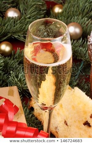 Italiaans · christmas · fruitcake · geserveerd · Blauw · glas - stockfoto © aladin66