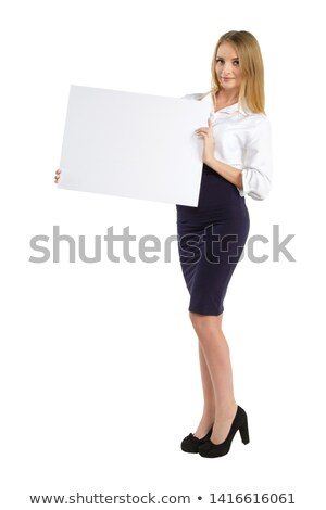 donna · seduta · cartellone · segno · cute - foto d'archivio © smithore