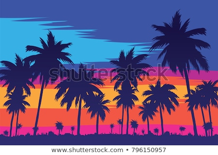 vector tree with sunset stock photo © orson
