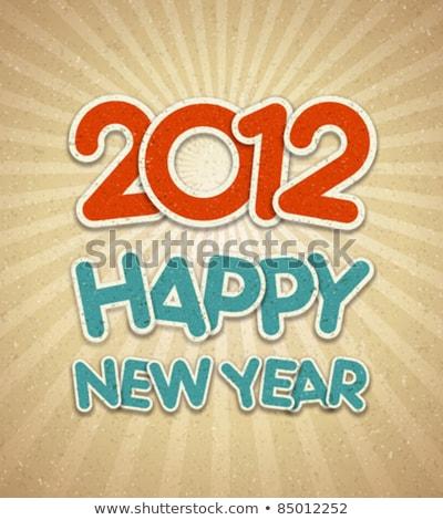 Photo stock: Happy · new · year · 2012 · un · message · vecteur · design · bleu