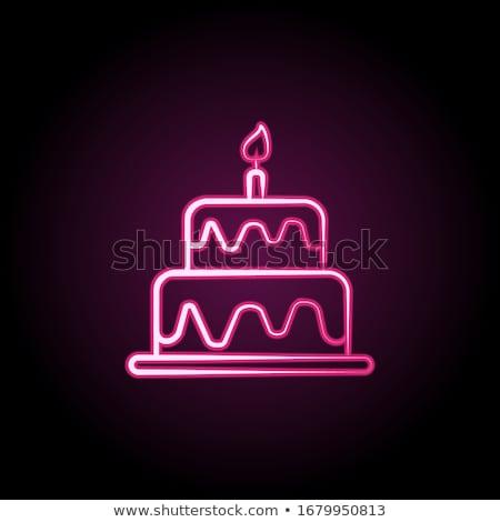 Színes születésnap torták szett izolált fehér Stock fotó © lordalea