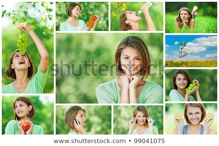 Montage femme manger fruits fille alimentaire Photo stock © photography33