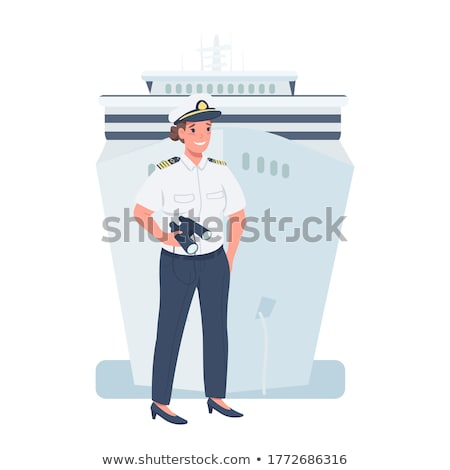 Woman in uniform sea captain, isolated on white background Stock photo © pzaxe