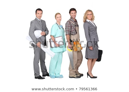 Négy személy különböző profi hátterek nők munka Stock fotó © photography33
