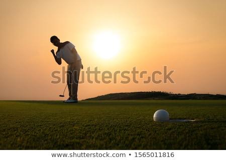 mannen · silhouet · mist · persoon · lopen · mistig - stockfoto © cmcderm1