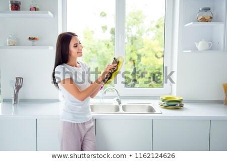 Sorrindo prato cozinha beleza vida feminino Foto stock © wavebreak_media