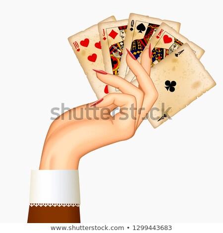 Pikk póker kártya retró stílus öltöny klasszikus Stock fotó © carodi