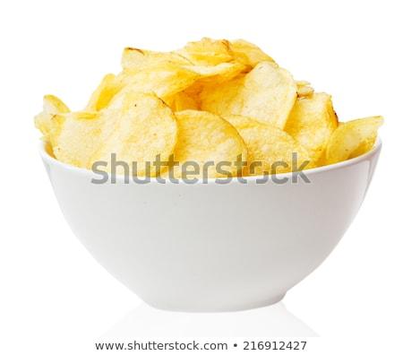 batatas · fritas · tigela · isolado · branco · comida · fundo - foto stock © rob_stark