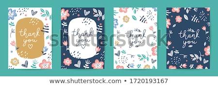 спасибо вектора карт цветок синий цветок бумаги Сток-фото © prokhorov
