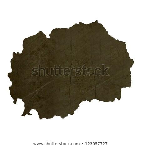 Dark silhouetted map of Macedonia Stock photo © speedfighter