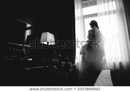 menyasszony · autó · portré · fiatal · lány · visel · fehér - stock fotó © luckyraccoon