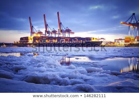 изображение грузовое судно сумерки время морем океана Сток-фото © rufous