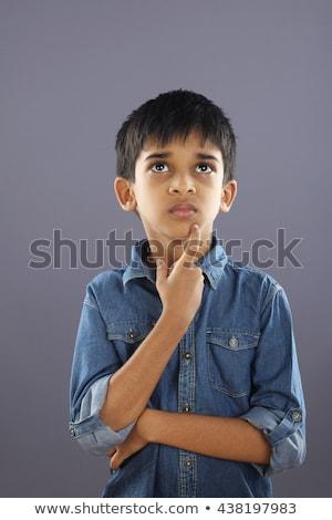 ストックフォト: 肖像 · 愛らしい · 男子生徒 · 思考 · 白 · 孤立した