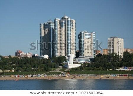 Stockfoto: Rivier · Rusland · water · stad · bomen · groene