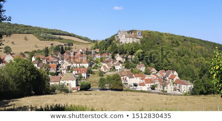 hills and medieval village of rochepot in france stock photo © hofmeester