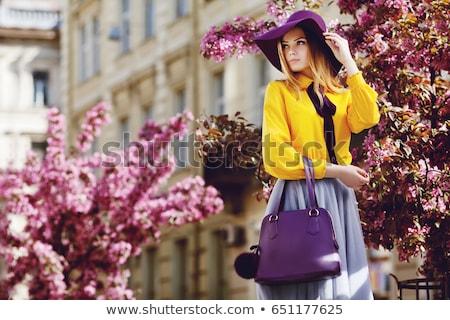 Portré lány táska gyermek háttér utazás Stock fotó © zzve
