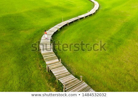 Stock photo: Woman walking on wooden bridge