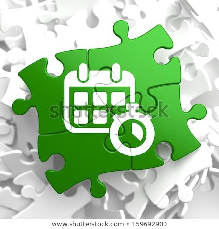 календаря таймер икона зеленый головоломки белый Сток-фото © tashatuvango