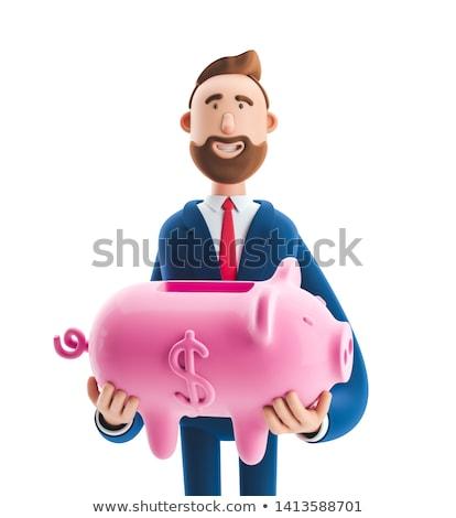 3D üzletember dollár valuta szimbólum izolált Stock fotó © Kirill_M
