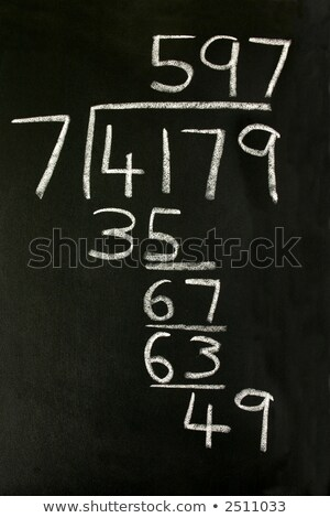 a long division sum on a blackboard stock photo © latent
