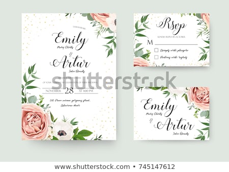 Vintage invitation card with rose, vector illustration Stock photo © carodi