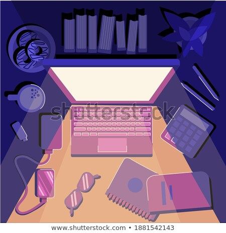 Pen calculator bril Blauw licht monitor Stockfoto © alekleks