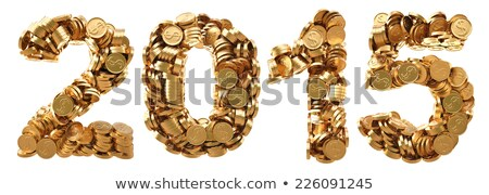 year 2015 of gold coins with white background stock photo © mikola249