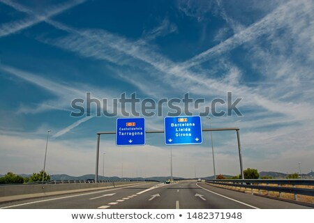 Stockfoto: Motivatie · snelweg · wegwijzer · leren · blauwe · hemel · doel