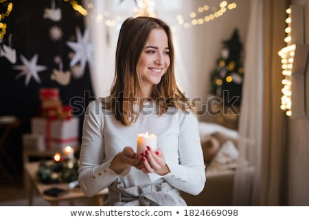 Attractive woman with candle Stock photo © Anna_Om