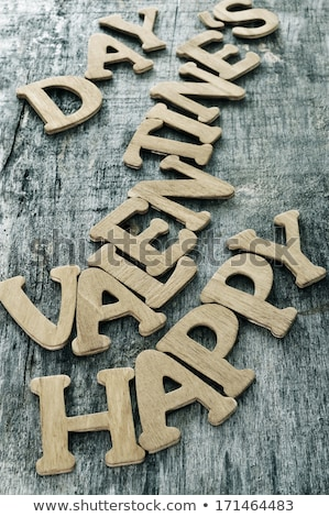 letters forming the sentence happy valentines day on a wooden su Stock photo © nito