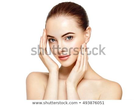 Közelkép portré gyönyörű nő hosszú barna haj lány Stock fotó © deandrobot