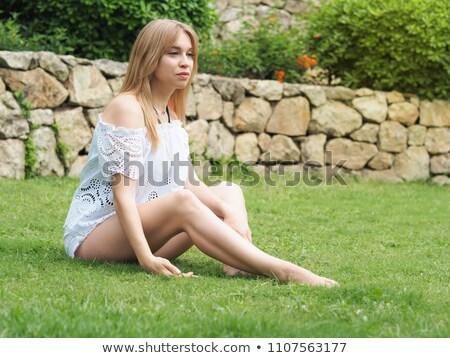 genç · kafkas · kadın · beyaz · oturma · yoga - stok fotoğraf © ambro
