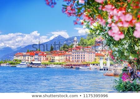 göl · İtalya · gökyüzü · su · binalar · tekne - stok fotoğraf © artjazz