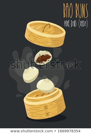 dim · sum · tányér · sötét · háttér · kenyér · hús - stock fotó © wxin