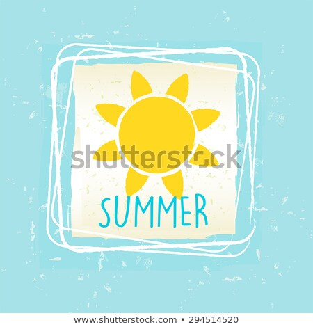 Summer With Sun Sign In Frame Over Blue Old Paper Background Stockfoto © marinini