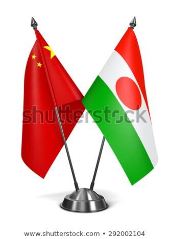 Cina Niger miniatura bandiere isolato bianco Foto d'archivio © tashatuvango