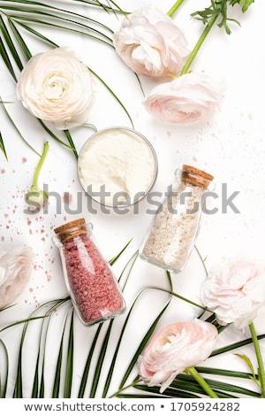 bath salt and palm leaf Stock photo © joannawnuk