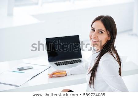 Zakenvrouw naar Maakt een reservekopie geïsoleerd business meisje Stockfoto © fuzzbones0