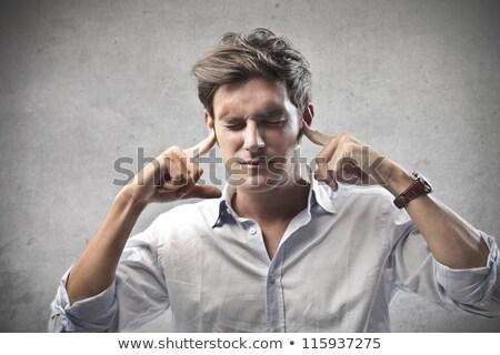 adam · yukarı · kulaklar · müzik · ev · konuşmacı - stok fotoğraf © fuzzbones0