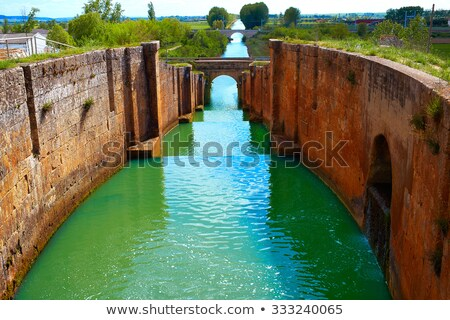 canal de castilla channel saint james way fromista stock photo © lunamarina