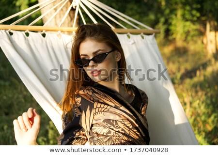 Vrouw badjas portret lachend Stockfoto © deandrobot