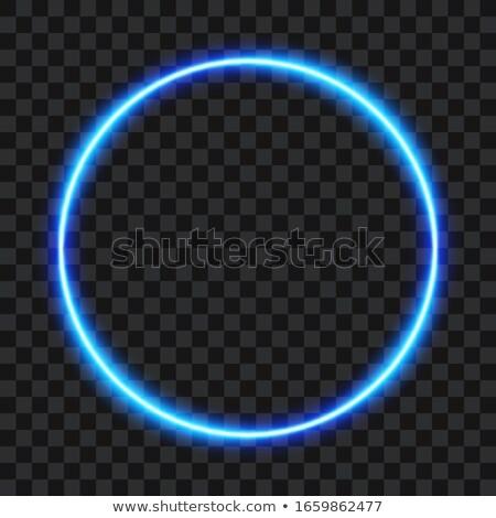 vibráló · kék · neon · keret · sötét · vektor - stock fotó © saicle