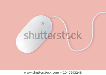 Foto stock: Rosa · ratón · de · la · computadora · aislado · blanco · negocios · oficina