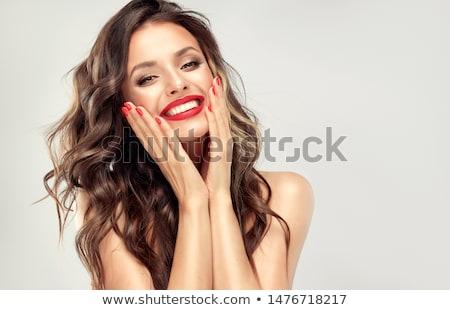 Nő piros ajkak gyönyörű nő hosszú műszempillák mosolyog Stock fotó © lubavnel