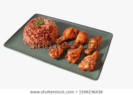 Lezzetli bulaşık tavuk uyluk pirinç marul Stok fotoğraf © vlad_star
