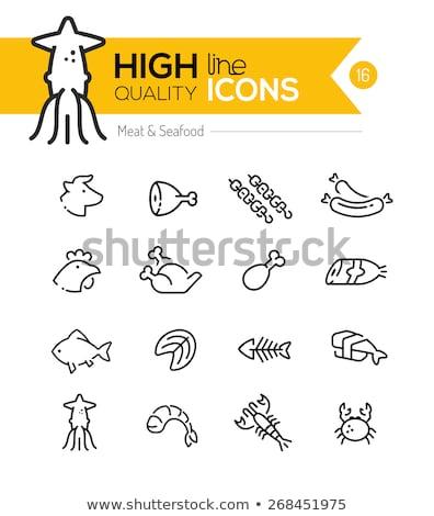 Quibe grelhado peixe linha ícone Foto stock © RAStudio