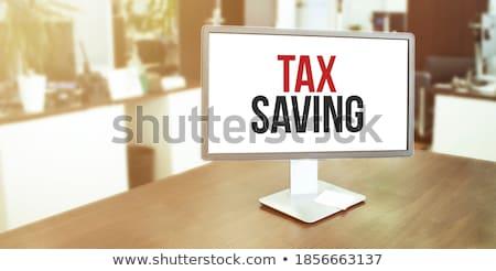 Adózás szó iroda szerszámok fa asztal iskola Stock fotó © fuzzbones0