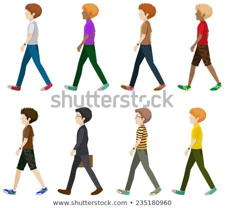 Huit garçons marche visages blanche fond Photo stock © bluering