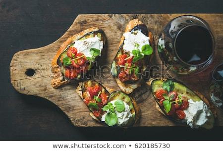 baked eggplant with tomato and cream Stock photo © M-studio